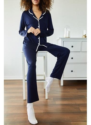 XHAN Beyaz & Yeşil Avokado Desenli Pijama Takımı 1Kxk8-44700-78 Lacivert